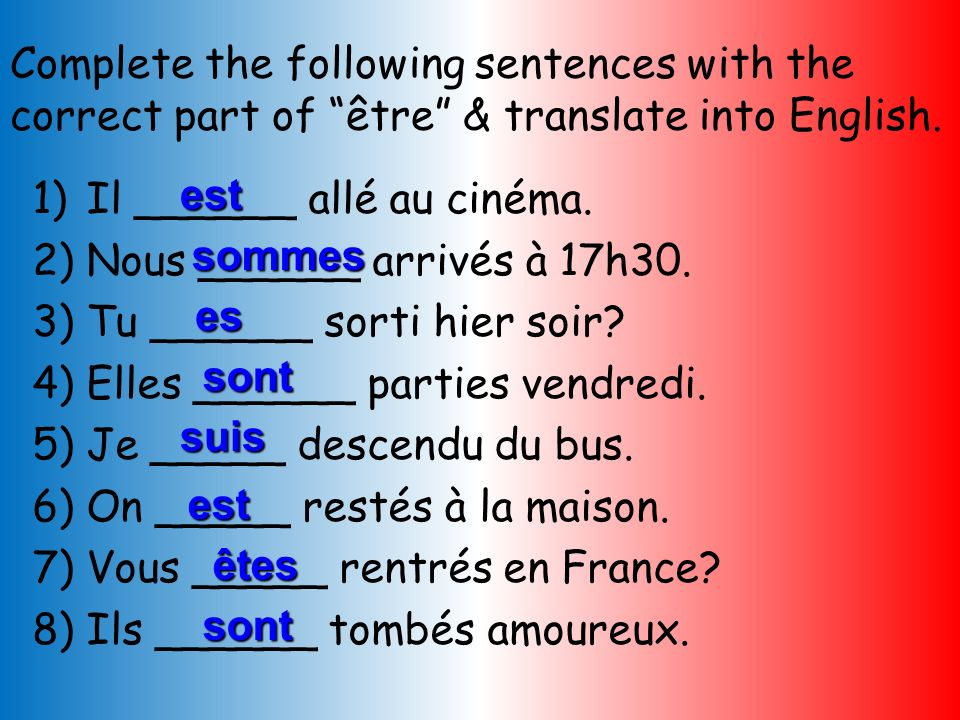 Complete the following sentences with the correct part of être & translate into English.