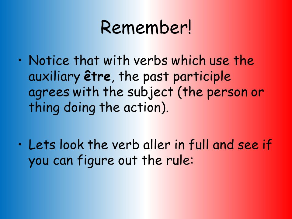 Remember! Notice that with verbs which use the auxiliary être, the past participle agrees with the subject (the person or thing doing the action).