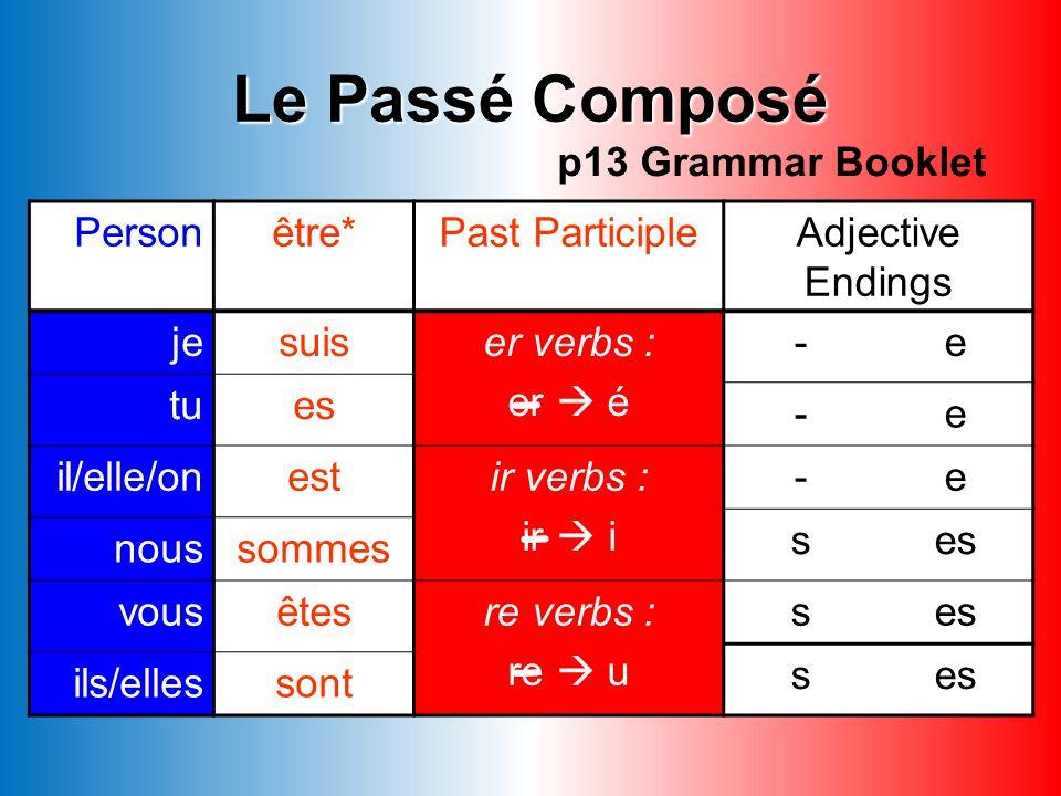 - - - Le Passé Composé p13 Grammar Booklet Person être*