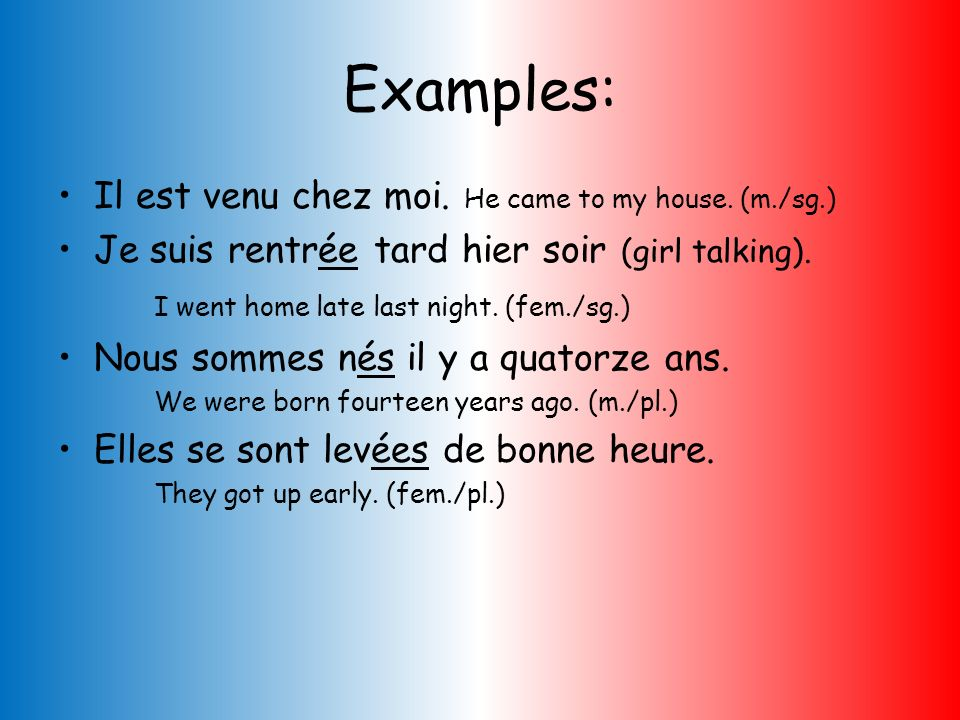 Examples: Il est venu chez moi. He came to my house. (m./sg.)