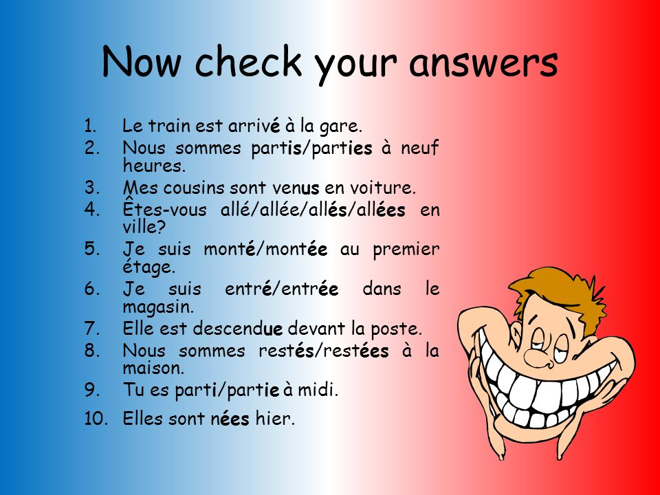 Now check your answers Le train est arrivé à la gare.
