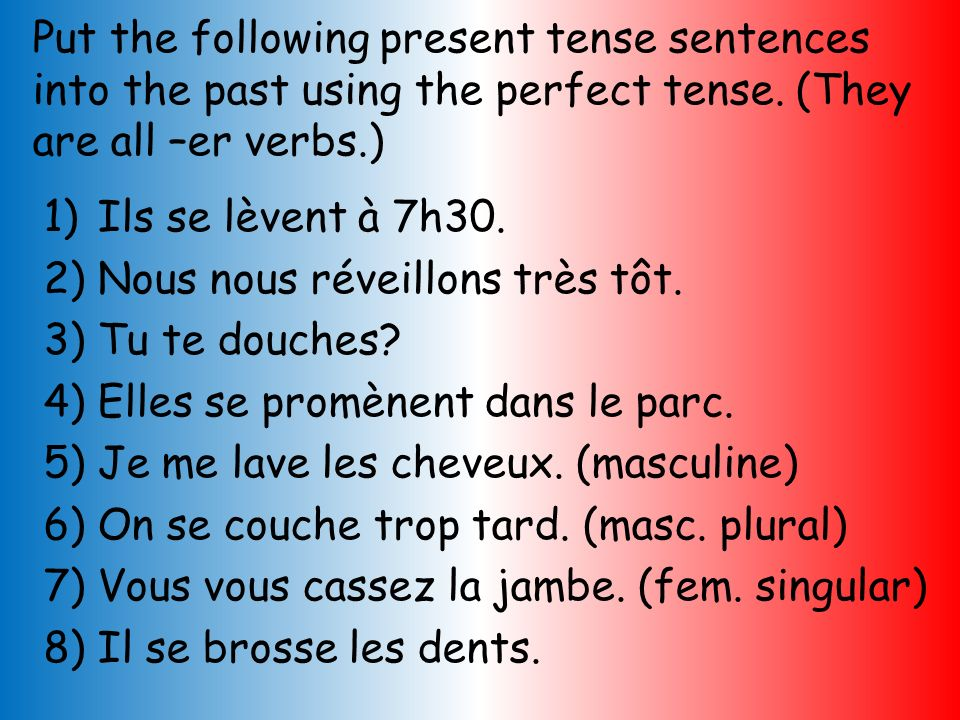 Put the following present tense sentences into the past using the perfect tense. (They are all –er verbs.)