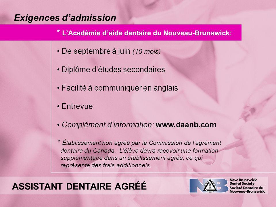 Exigences d'admission