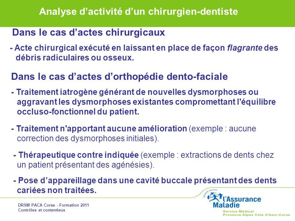 Dans le cas d'actes d'orthopédie dento-faciale
