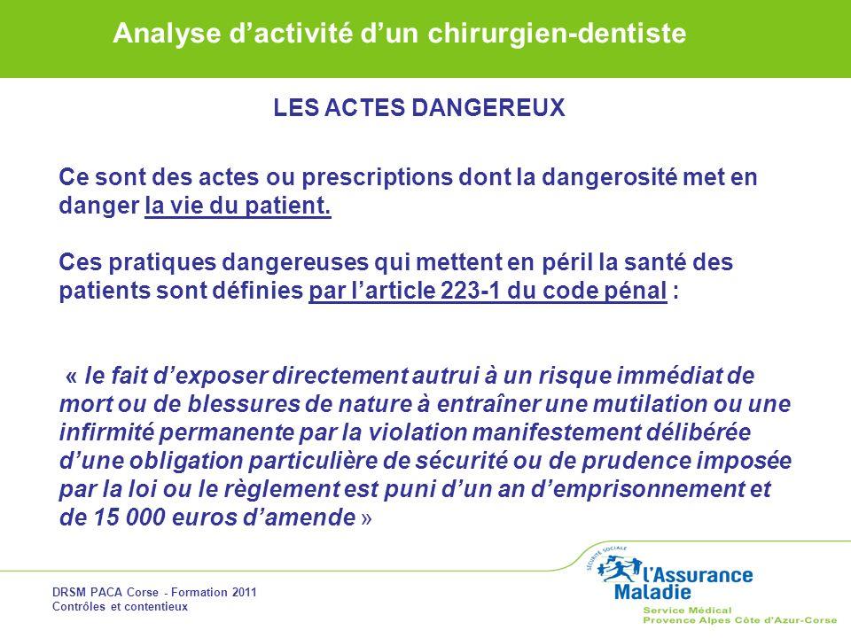 LES ACTES DANGEREUX Ce sont des actes ou prescriptions dont la dangerosité met en danger la vie du patient.