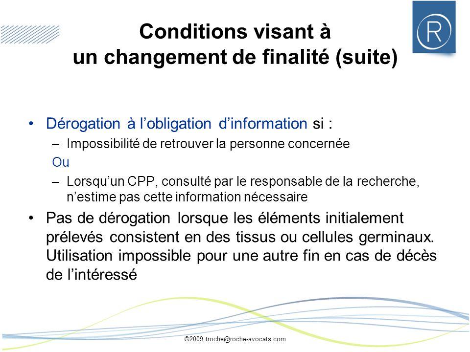 Conditions visant à un changement de finalité (suite)