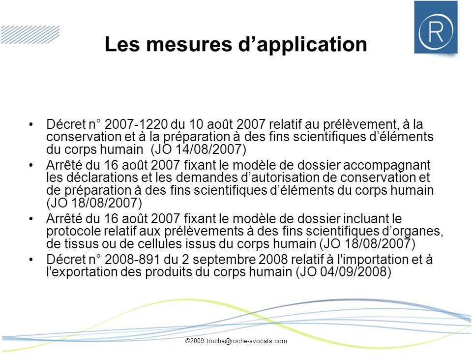 Les mesures d'application