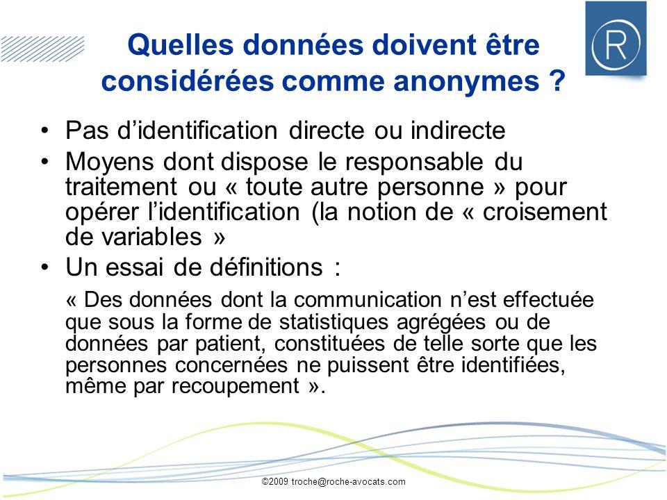 Quelles données doivent être considérées comme anonymes