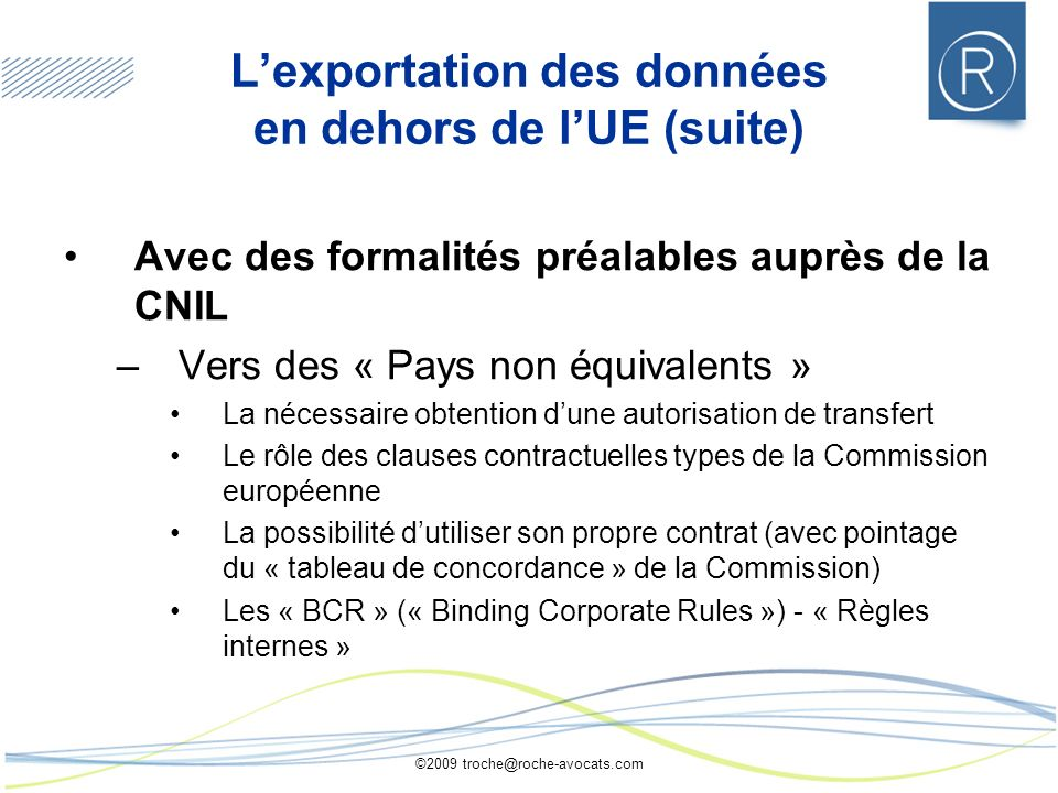 L'exportation des données en dehors de l'UE (suite)