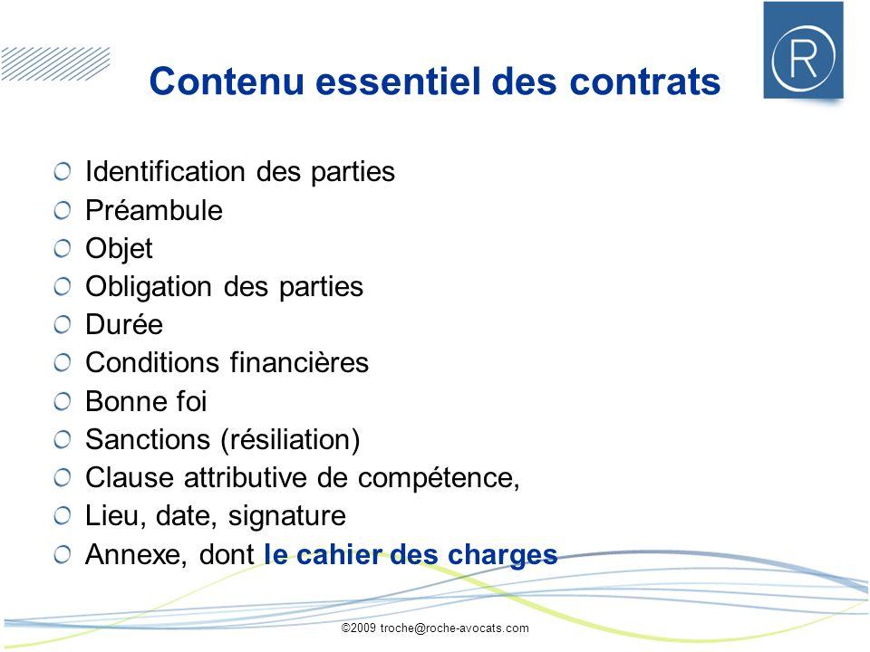 Contenu essentiel des contrats