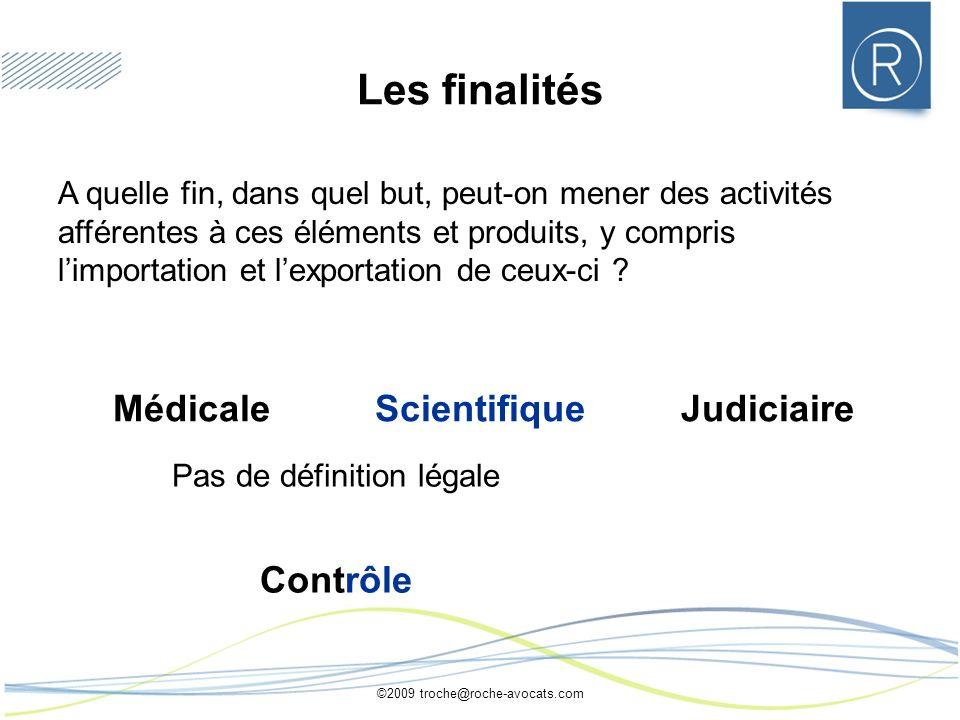 Les finalités Médicale Scientifique Judiciaire Contrôle