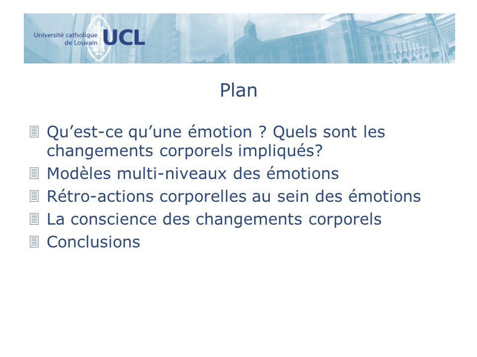 Plan Qu'est-ce qu'une émotion Quels sont les changements corporels impliqués Modèles multi-niveaux des émotions.