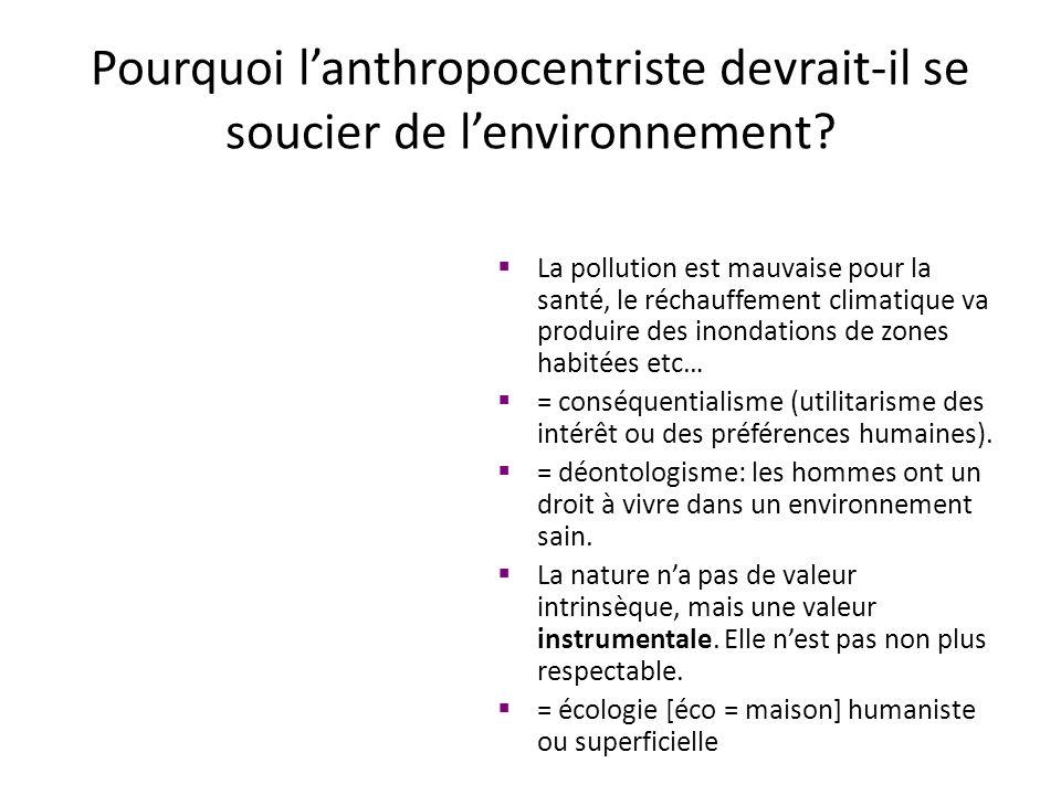 Pourquoi l'anthropocentriste devrait-il se soucier de l'environnement