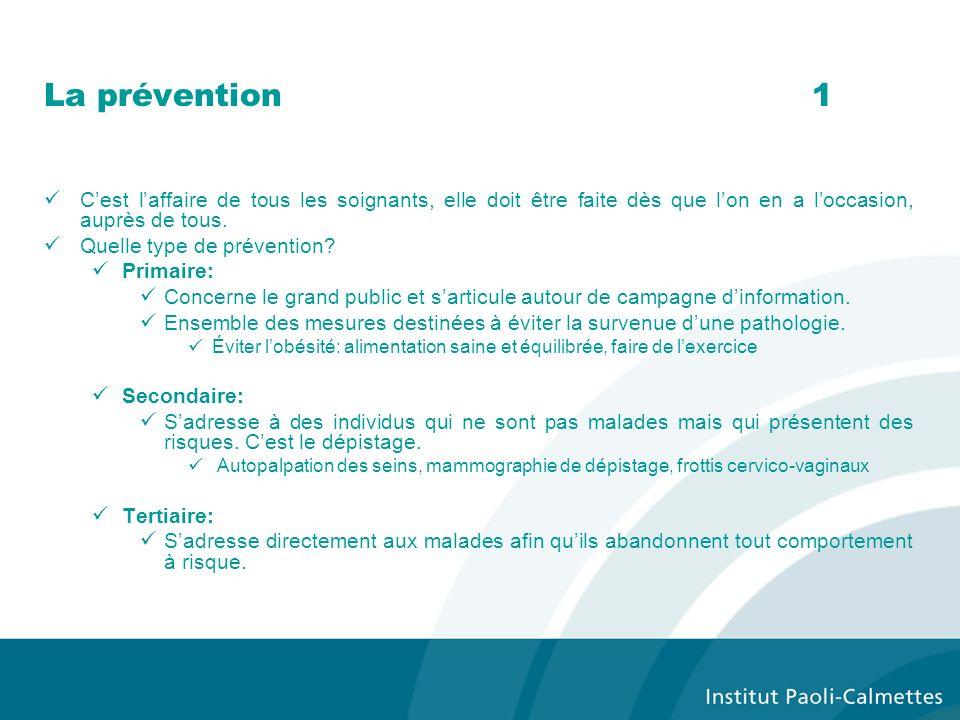 La prévention 1 C'est l'affaire de tous les soignants, elle doit être faite dès que l'on en a l'occasion, auprès de tous.