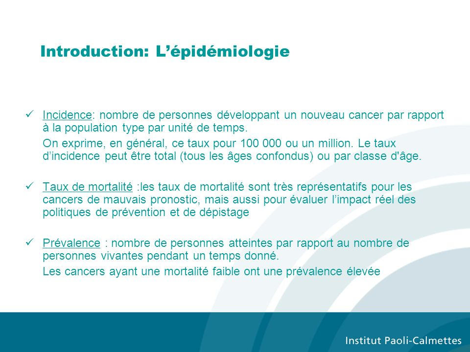 Introduction: L'épidémiologie