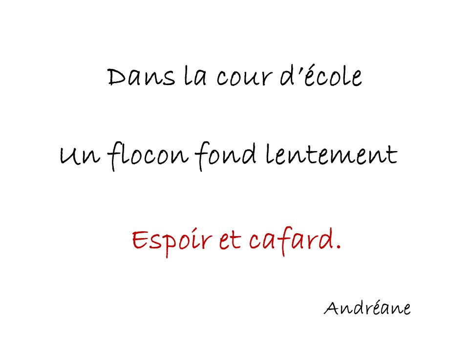 Un flocon fond lentement