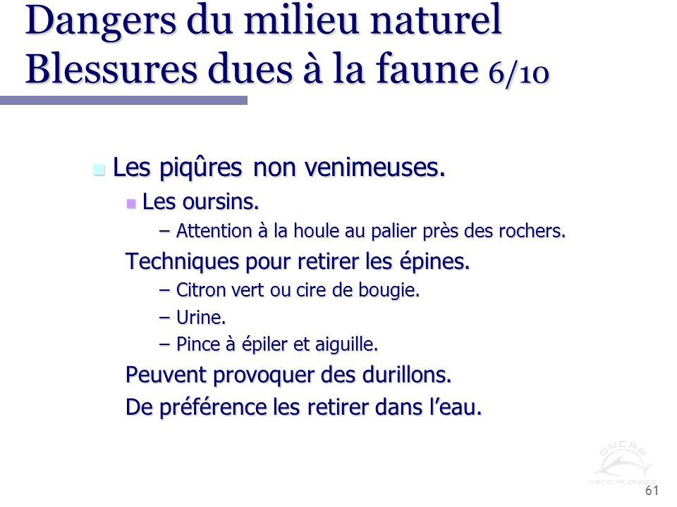 Dangers du milieu naturel Blessures dues à la faune 6/10