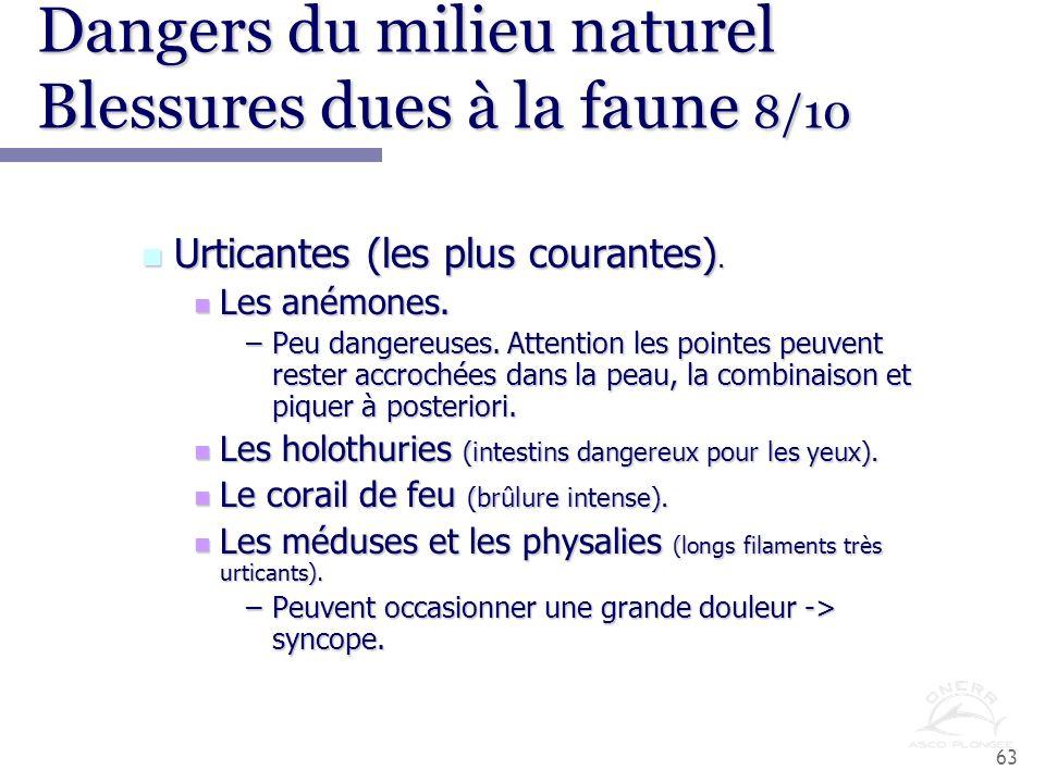 Dangers du milieu naturel Blessures dues à la faune 8/10
