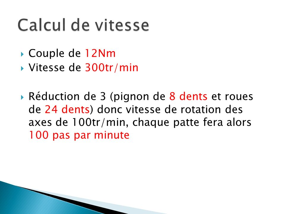 Calcul de vitesse Couple de 12Nm Vitesse de 300tr/min