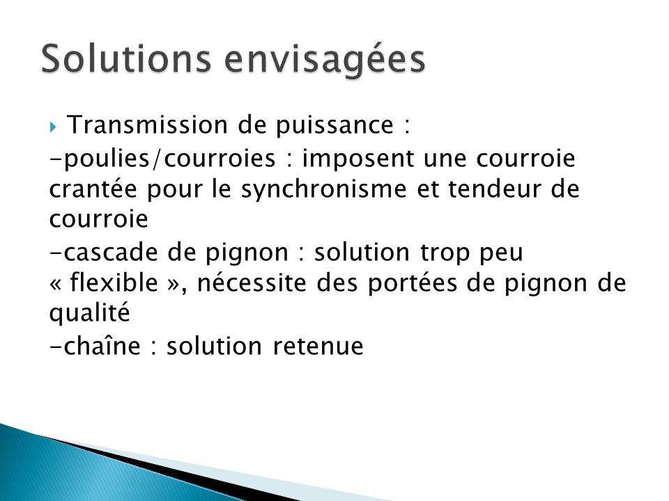 Solutions envisagées Transmission de puissance :