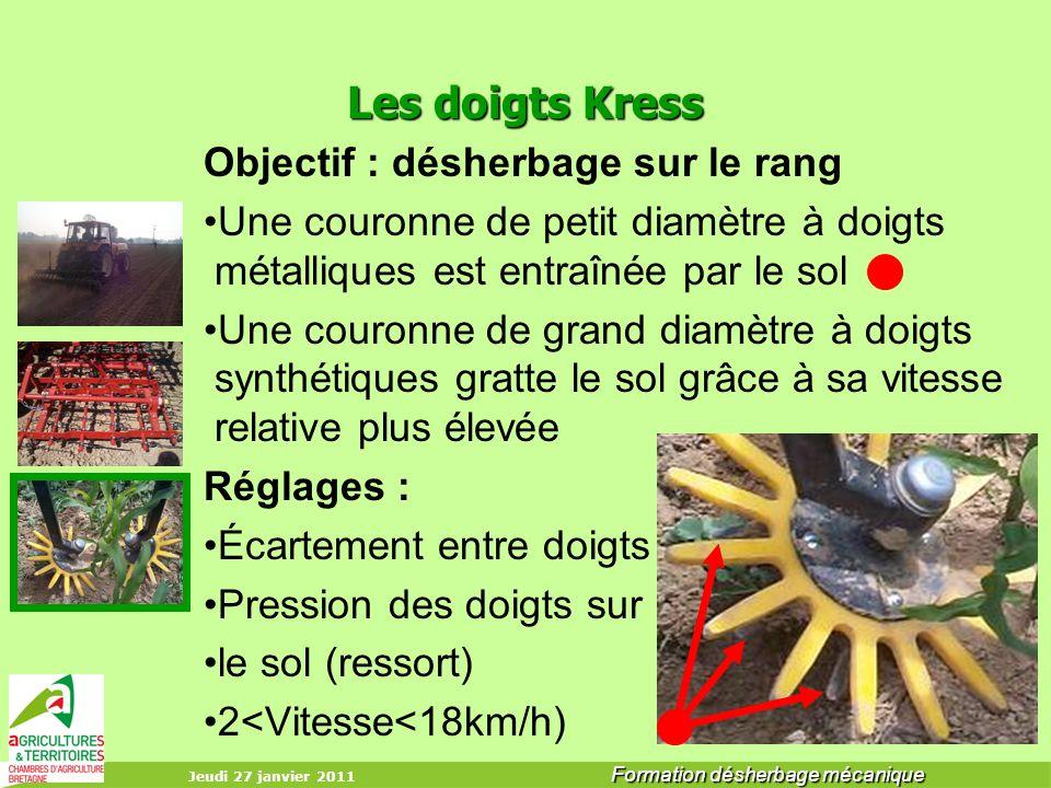 Les doigts Kress Objectif : désherbage sur le rang