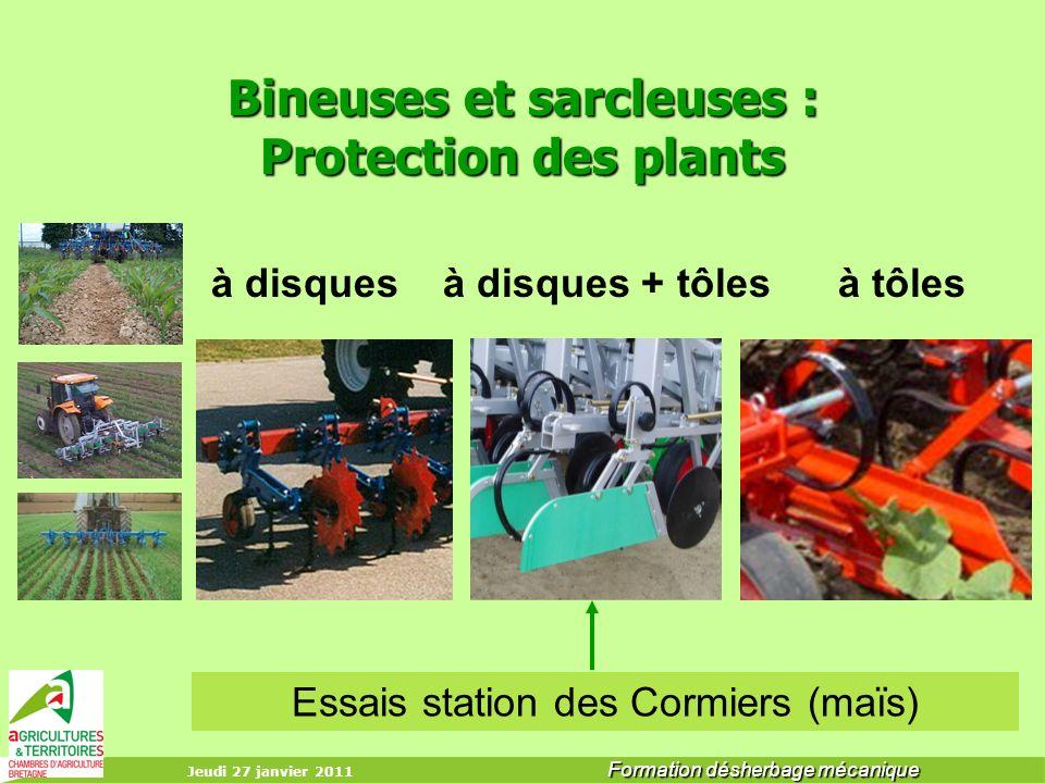 Bineuses et sarcleuses : Protection des plants