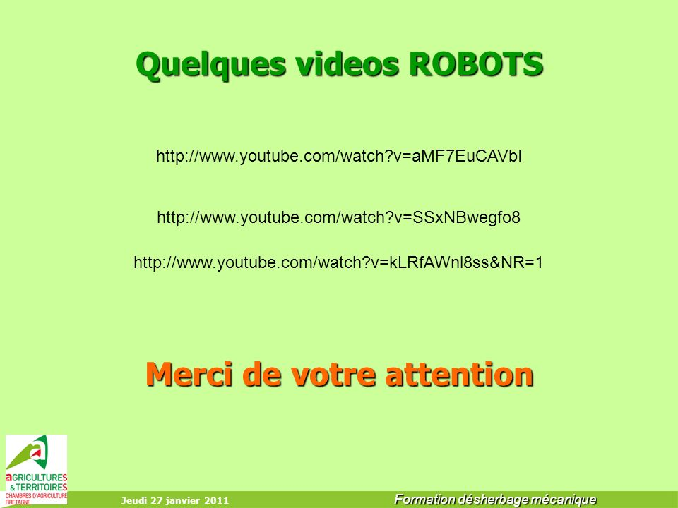 Quelques videos ROBOTS