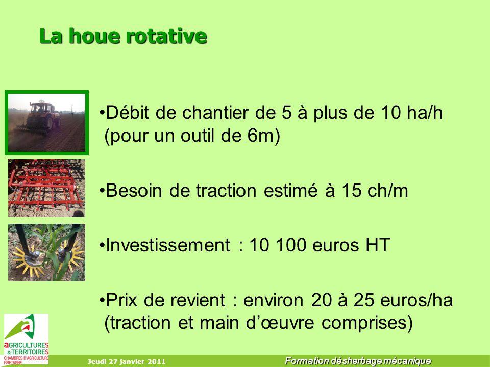 La houe rotative Débit de chantier de 5 à plus de 10 ha/h (pour un outil de 6m) Besoin de traction estimé à 15 ch/m.