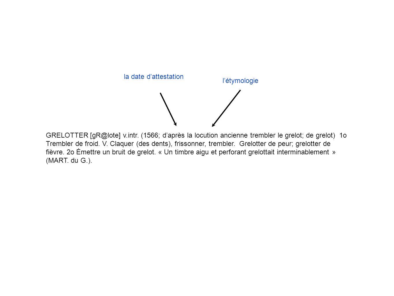la date d'attestation l'étymologie.