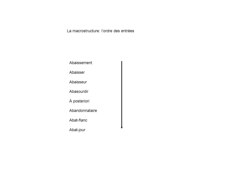 La macrostructure: l'ordre des entrées