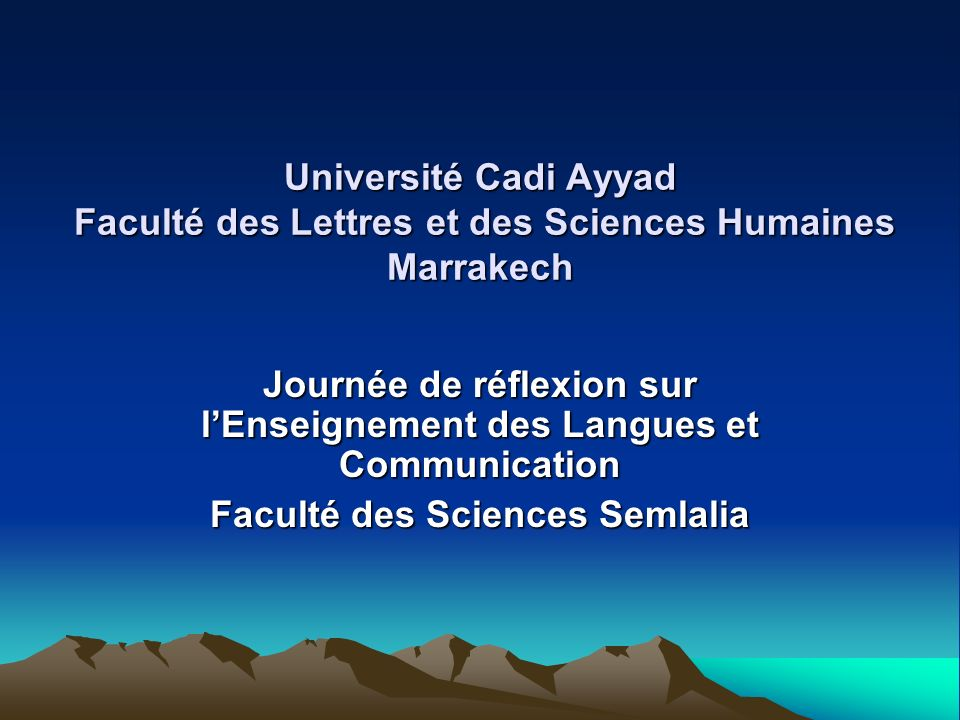 Journée de réflexion sur l'Enseignement des Langues et Communication