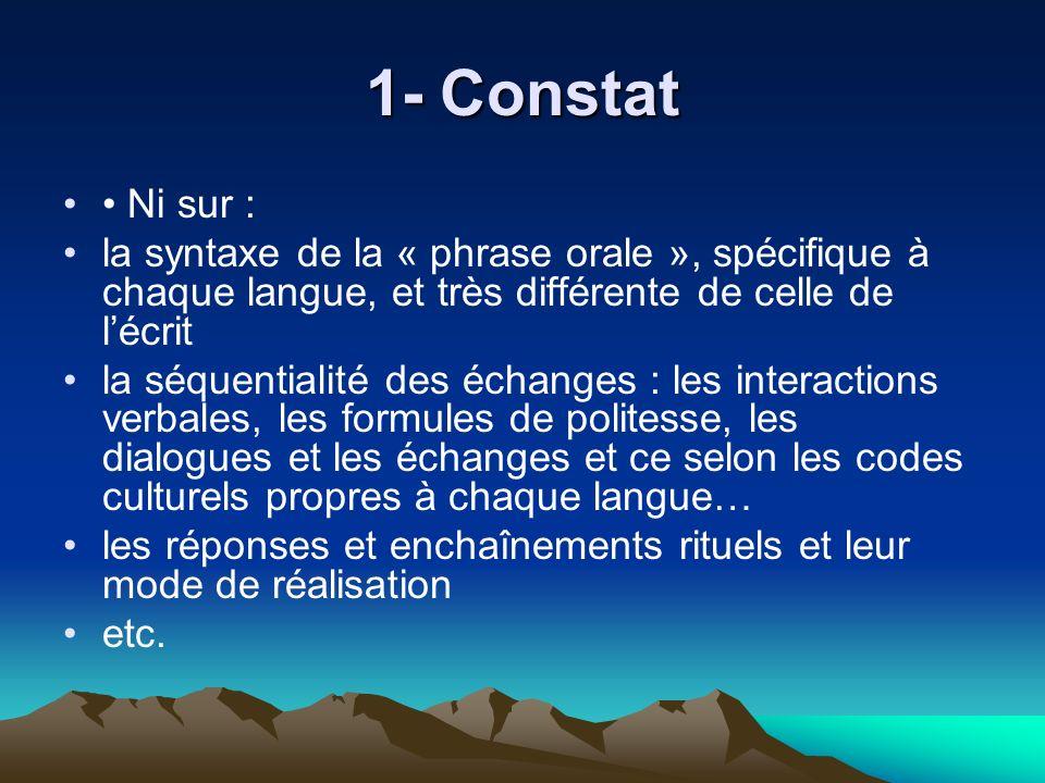 1- Constat • Ni sur : la syntaxe de la « phrase orale », spécifique à chaque langue, et très différente de celle de l'écrit.