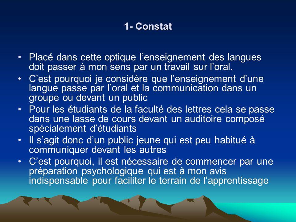 1- Constat Placé dans cette optique l'enseignement des langues doit passer à mon sens par un travail sur l'oral.