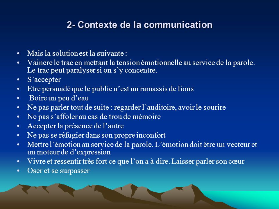 2- Contexte de la communication