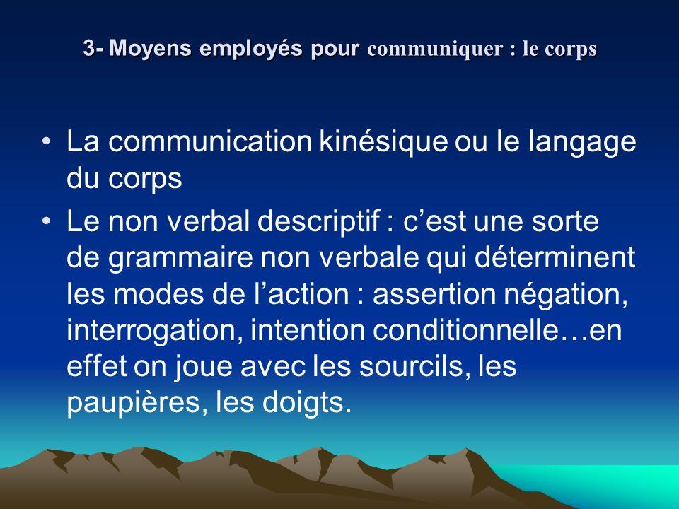 3- Moyens employés pour communiquer : le corps