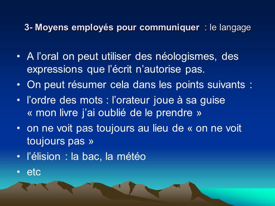 3- Moyens employés pour communiquer : le langage