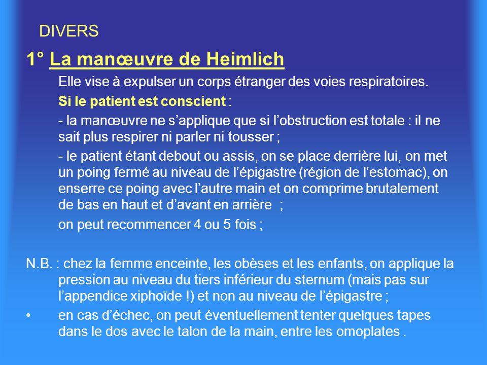 1° La manœuvre de Heimlich