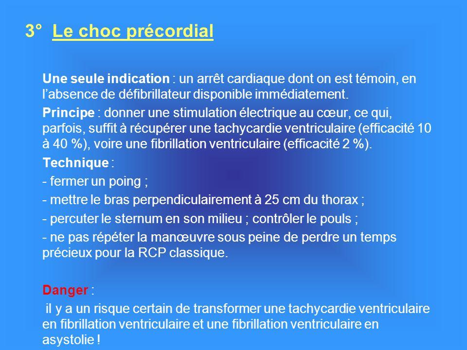 3° Le choc précordial Une seule indication : un arrêt cardiaque dont on est témoin, en l'absence de défibrillateur disponible immédiatement.