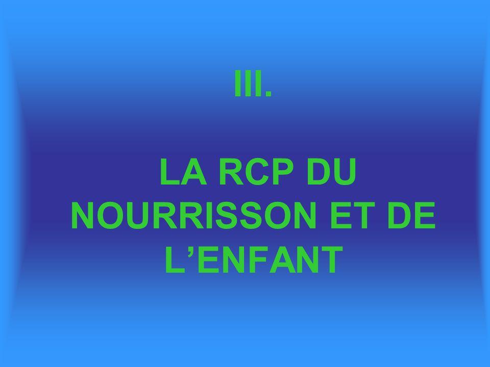 III. LA RCP DU NOURRISSON ET DE L'ENFANT