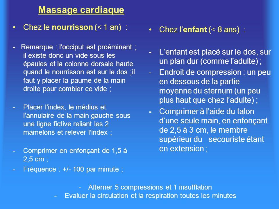 Massage cardiaque Chez le nourrisson (< 1 an) :