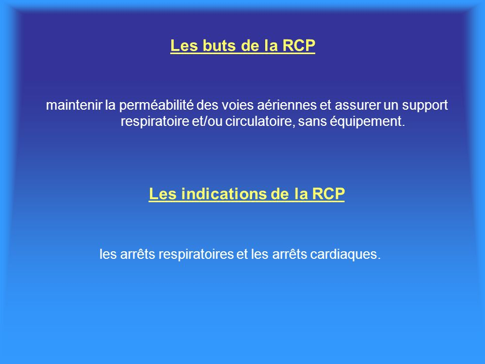 Les indications de la RCP