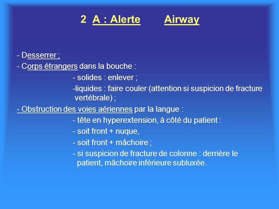 2 A : Alerte Airway - Desserrer ; - Corps étrangers dans la bouche :