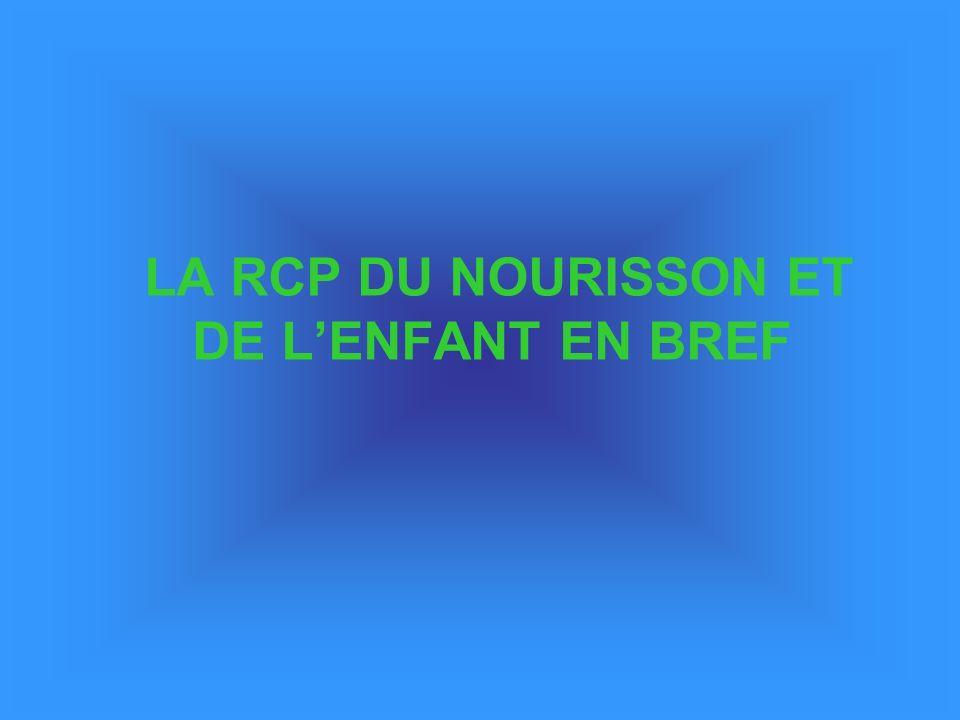 LA RCP DU NOURISSON ET DE L'ENFANT EN BREF