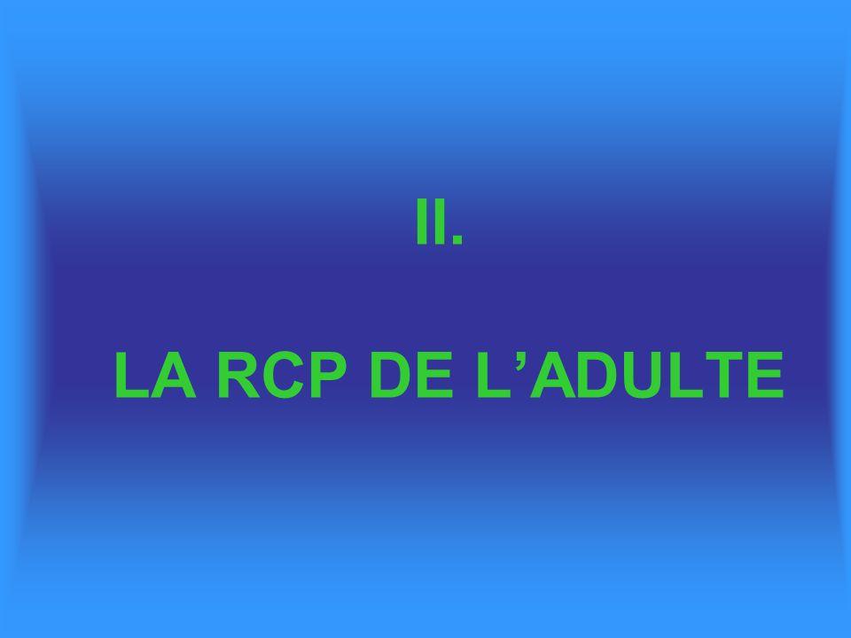 II. LA RCP DE L'ADULTE