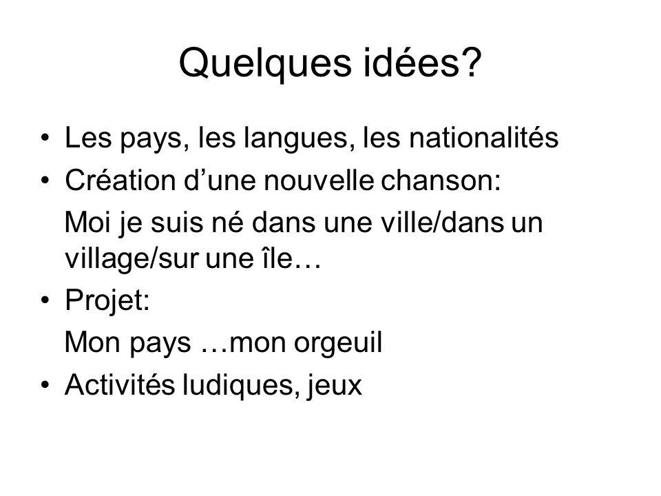 Quelques idées Les pays, les langues, les nationalités