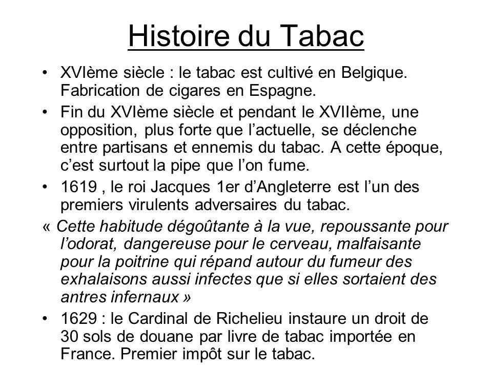 Histoire du Tabac XVIème siècle : le tabac est cultivé en Belgique. Fabrication de cigares en Espagne.