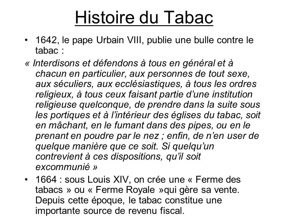 Histoire du Tabac 1642, le pape Urbain VIII, publie une bulle contre le tabac :