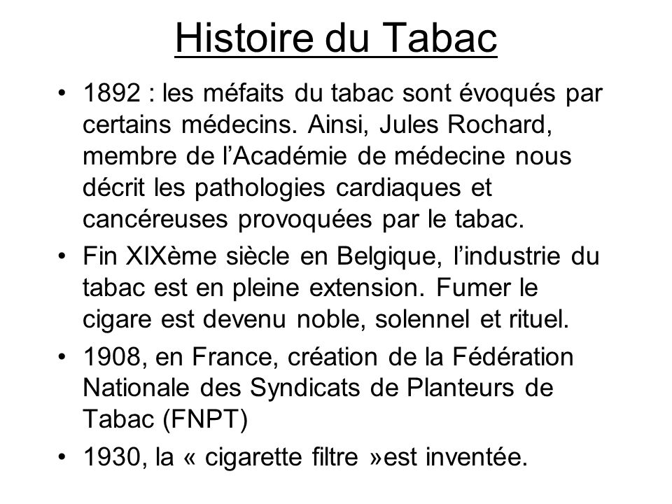 Histoire du Tabac