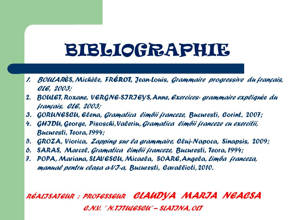 BIBLIOGRAPHIE C.N.V. N. TITULESCU – SLATINA, OLT