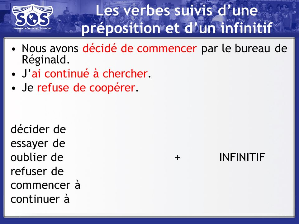 Les verbes suivis d'une préposition et d'un infinitif